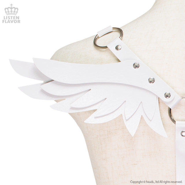 Harness Belt With Angel Wings - White