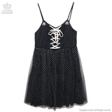 Angel Cross Lace-Up Dress - Black
