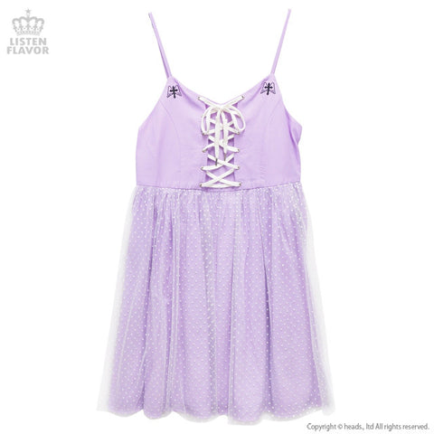 Angel Cross Lace-Up Dress - Lavender