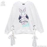 Evil Rabbit Lace Up Ribbon Parka - White