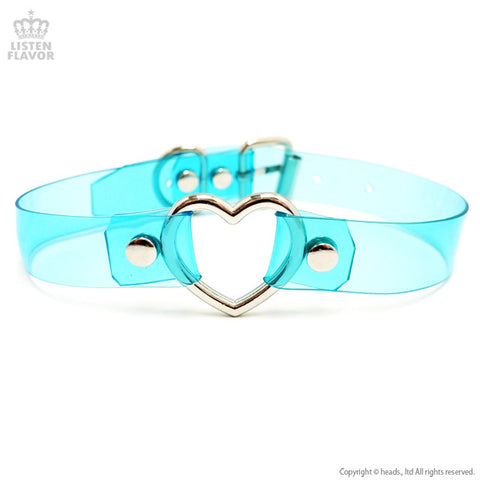 Acrylic Heart Choker - Clear Blue