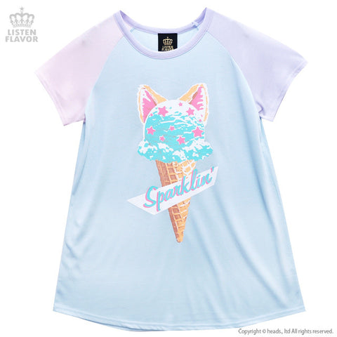 Ice Cream Cat Top - Baby Blue