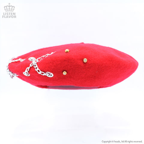 Chain Studded Beret - Red