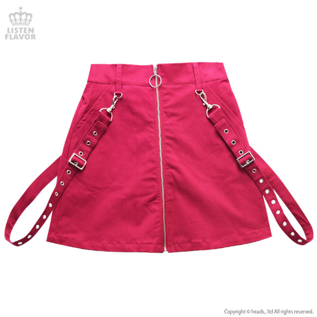 Center Zip Skirt with Suspenders - Pink