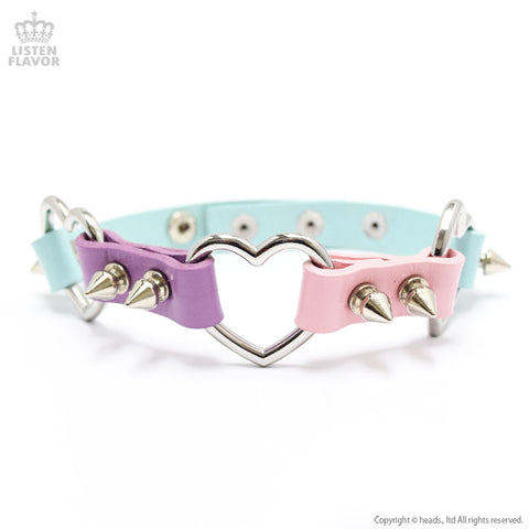 Triple Heart Studs Choker - Pastel Mix