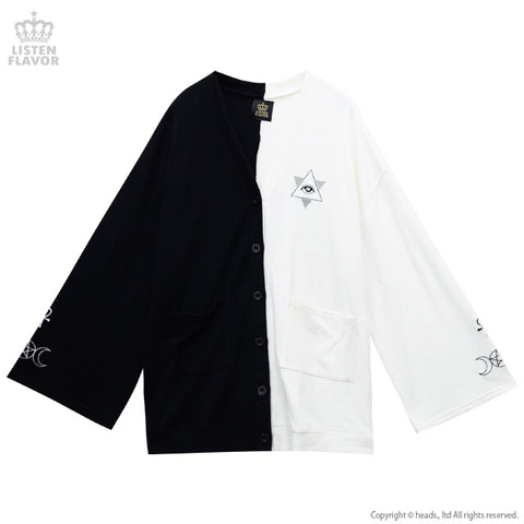 Occult Wide Sleeve Cardigan - Black x White