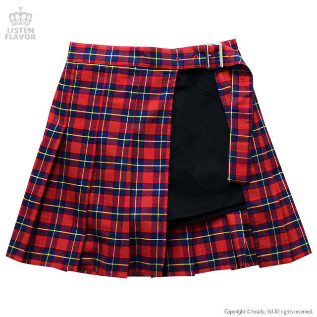 Layered Pleated Skirt  - Red Check