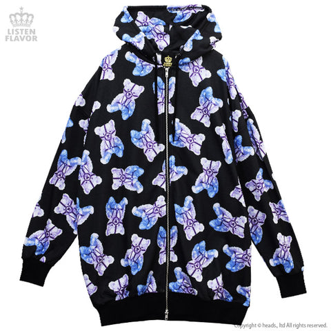 Harness Bear Full Pattern Parka - Black
