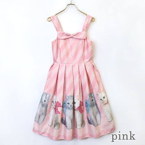 Dolled Up Cat Sleeveless Dress - Pink
