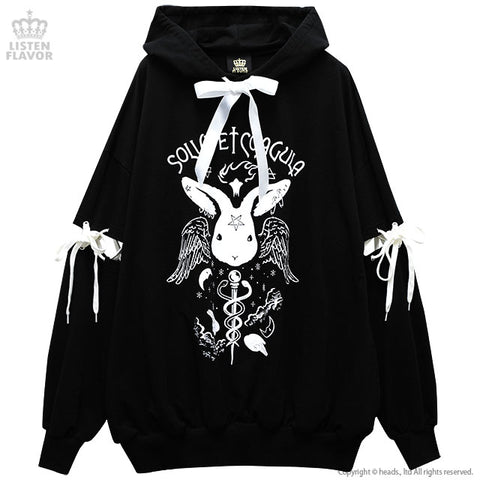 Dark Ritual Lace Up BIG Hoodie - Black