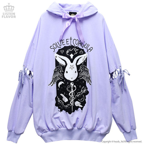 Dark Ritual Lace Up BIG Hoodie - Lavender
