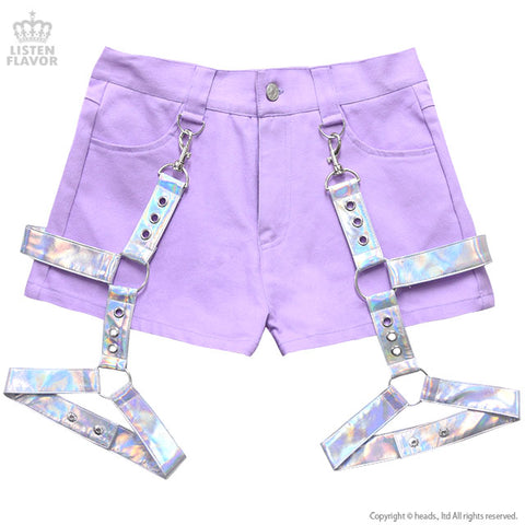 Shorts With Harness Garter Belt (L) - Lavender