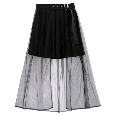 Tulle Layered Pleated Skirt - Black