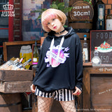 Dream Colored Strawberry Eyelet Parka - Black
