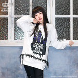 Dreamy Castle Lace Up Pullover - White