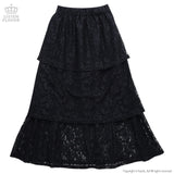 Lace Tiered Long Skirt - Black