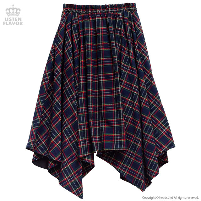 ZIP Switching Hemline Skirt - Navy Checker