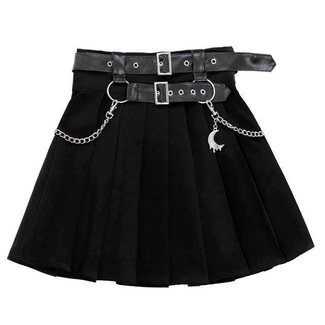 Belt Pleated Skirt With Chain