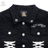 Angel Heart Lace Up Jacket - Black