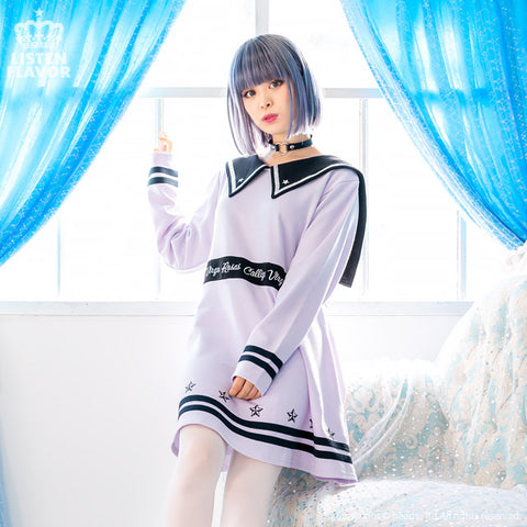 Maiden's Switching Line Sailor Dress - Lavender