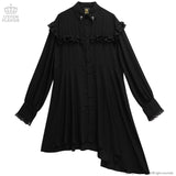 Asymmetric Ruffle Shirt Dress - Black