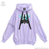 Dangerous Gas Mask Bear Sleeve Ring BIG Hoodie - Lavender