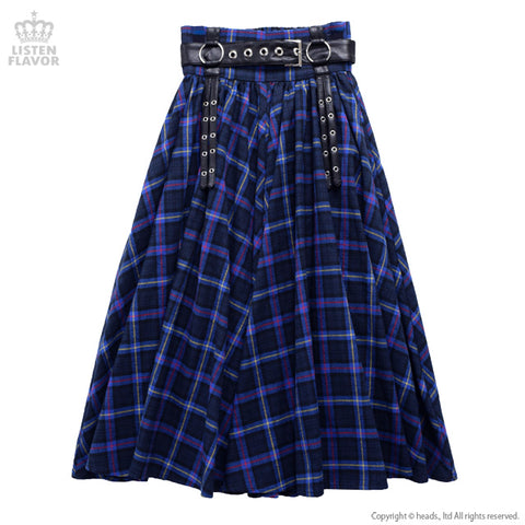 Harness Belt Maxi Skirt - Blue Plaid