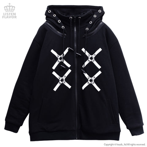 Cross Harness Stand Up Neck Hoodie Parka - Black