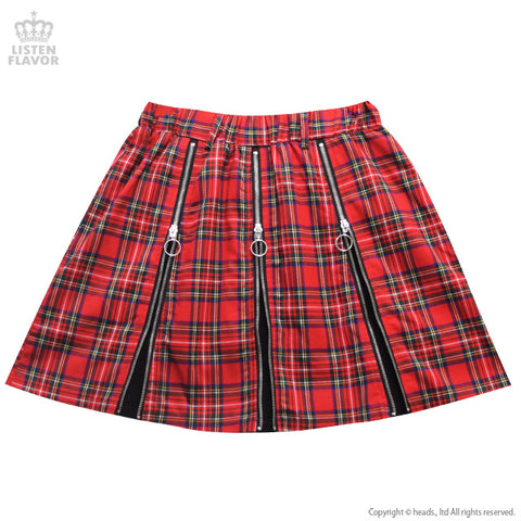 Triple ZIP Skirt - Red Check