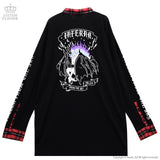 The Fallen Unicorn with Long Collar Cutsew - Black x Red