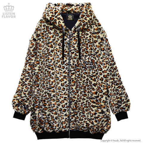 Destroy Bear Fluffy Jacket - Leopard