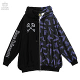 Bat Pattern Double Zip Hoodie - Black x Lavender