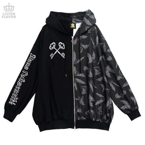 Bat Pattern Double Zip Hoodie - Black x Gray