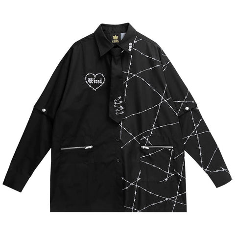 Barbed Wire Total Pattern 2way Shirt With Tie - Black x Black