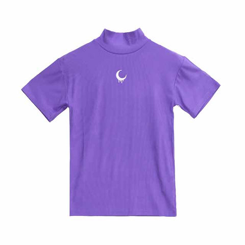 Melty Moon Embroidery Top - Purple