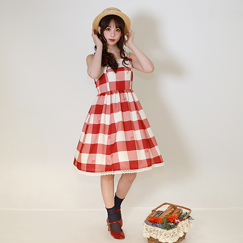 Melody Block Check Jumper Dress