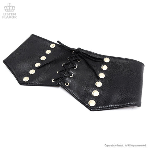 Rivet Lace Up Corset Belt - Black