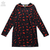 All Over Sailor Dress - Black x Red