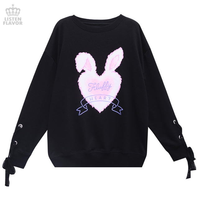 Fluffy Heart Sleeve Lace Pullover - Black