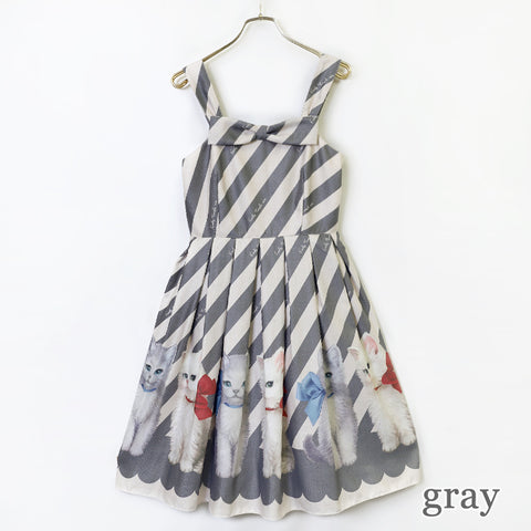 Dolled Up Cat Sleeveless Dress - Gray