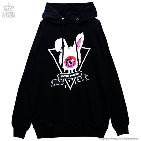 Eyeball Bunny Hoodie - Black x Red