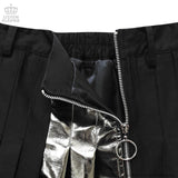 Irregular Pleated Skirt With Switching Zip - Black