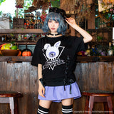Eyeball Bunny Lace Up Cutsew - Black