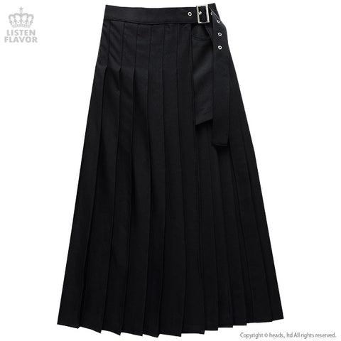 Moon Layered Pleated Long Skirt - Black