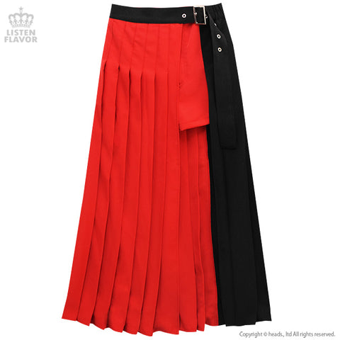 Moon Layered Pleated Long Skirt - Red