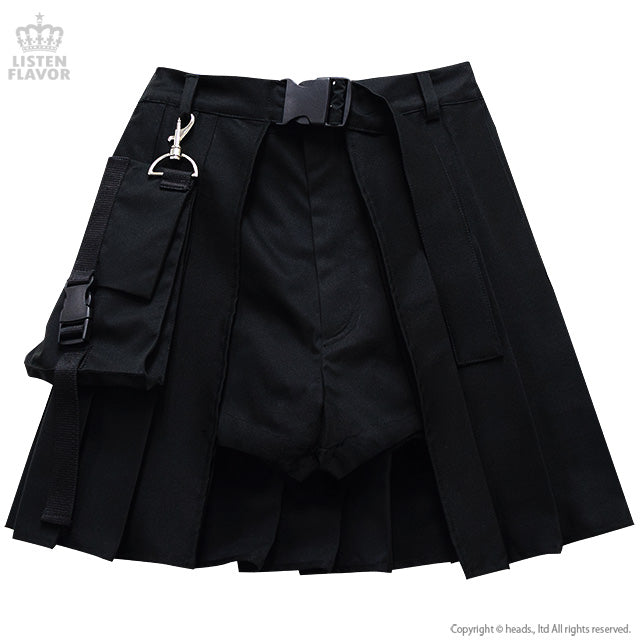 Moon Layered Pleated Pocket Skirt - Black