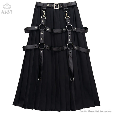 Pleated Maxi Skirt With Harness Belt - Black