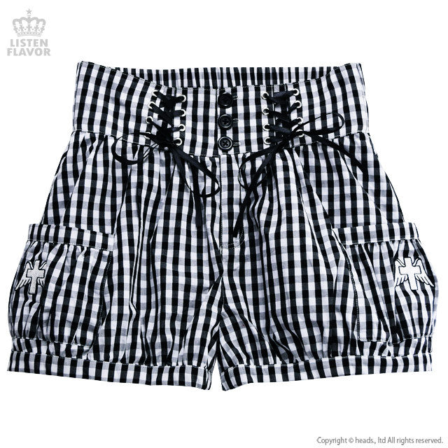 Gingham Lace Up Short Pants - Black