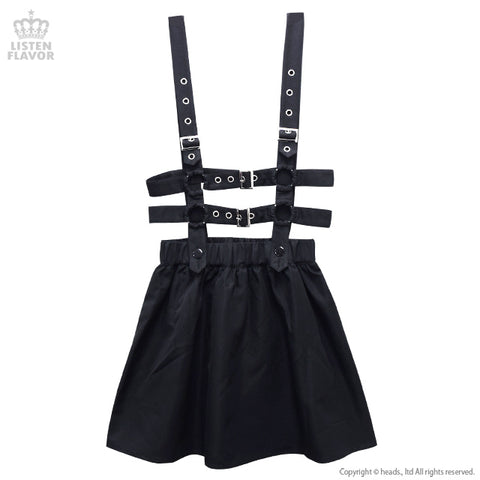 Flare skirt with Harness Belt - Black
