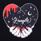 Fragile Heart Cross Hollow Cutsew - Black